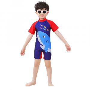 KIDS SHARK SWIMWEAR FOR BOYS SHORT SLEEVE BLUE
