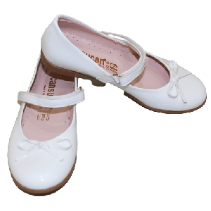 GIRL SHOES WITH STRAP AND BROWN OUT SOLE PLAIN WHITE