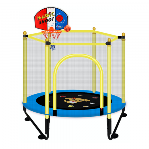 JUMPING TRAMPOLINE FOR KIDS WITH BASKETBALL HOOPS AND SAFETY NET