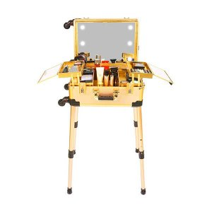 MAKEUP TROLLEY COSMETIC BOX GOLD WITH STAND AND LIGHTS