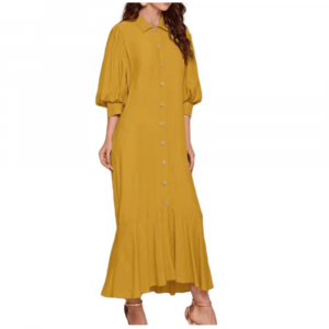 3/4 SLEEVE LONG DRESS WITH LINEN BUTTON