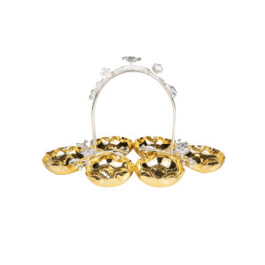 6 PCS ROUND GOLD PLATED DISHES