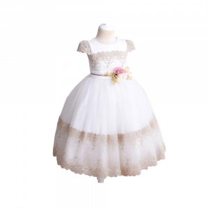 FORMAL DRESS WITH SHORT LACE SLEEVE FOR KIDS