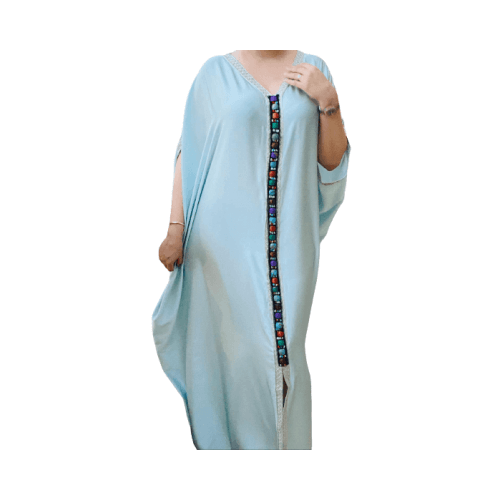 DARAA WOMEN DRESS SATAIN BABY BLUE FREE SIZE
