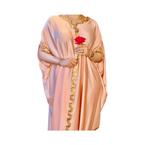 DARAA WOMEN DRESS SATAIN  PEACH FREE SIZE
