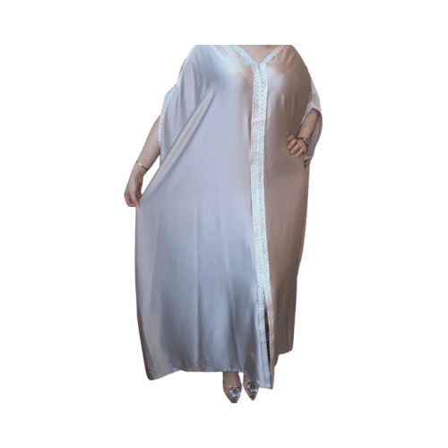 DARAA WOMEN DRESS SATAIN  LIGHT GRAY FREE SIZE