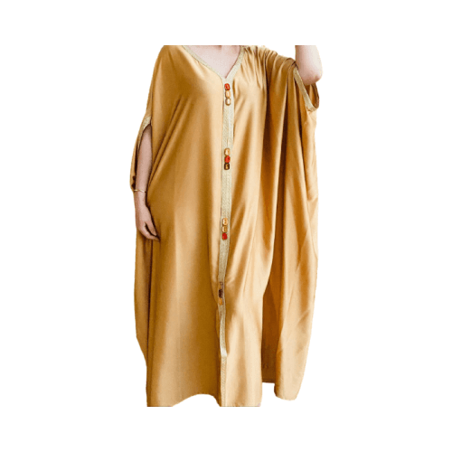 DARAA WOMEN DRESS SATAIN  MUSTARD FREE SIZE