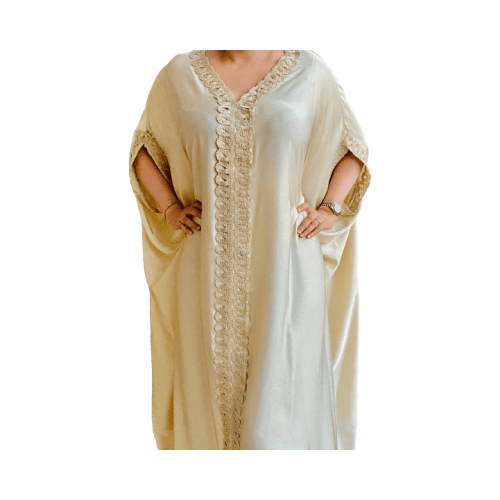 DARAA WOMEN DRESS SATAIN GOLD FREE SIZE